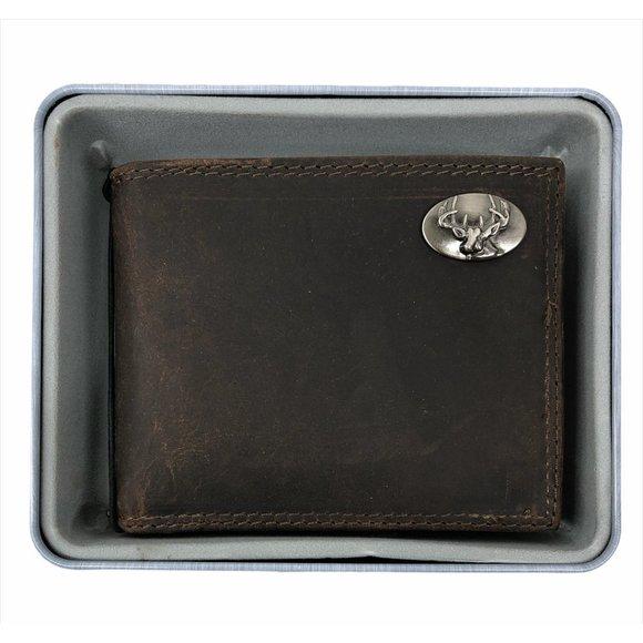 Zep Pro Crazy Horse Leather Buck Bi-Fold Wallet